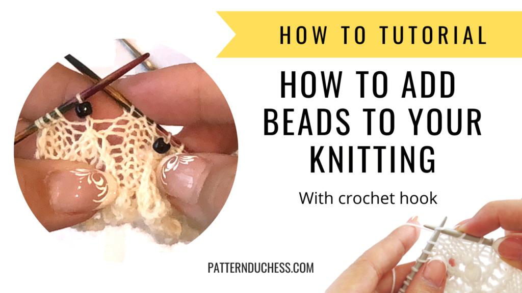 como tricotar adicionar miçangas ao tricô
